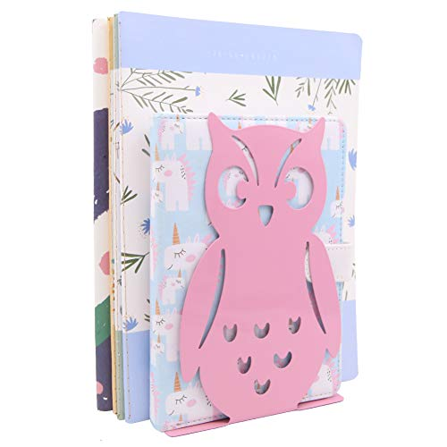 Winterworm 1 Pair Owl Bookends Non-Skid Cute Book Ends Art Book Ends for Home Shelves School Office (Pink)