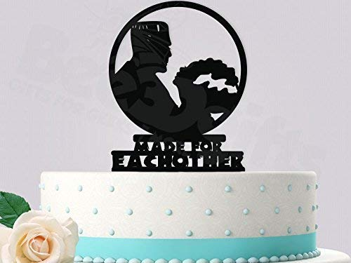 Frankenstein and Bride Wedding Cake Topper Made for Eachother