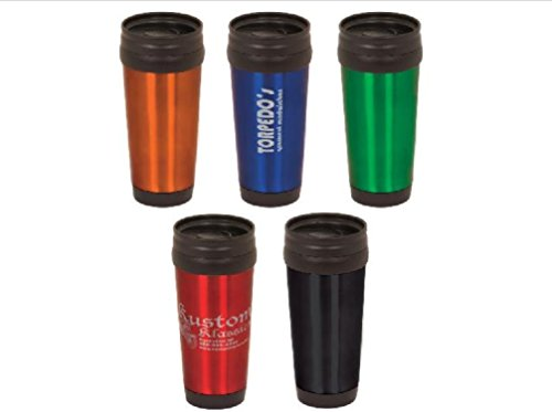 14 oz Personalized Custom Laser Engraved Stainless Steel Travel Mug - 5 Colors CUSTOMIZE (Blue)