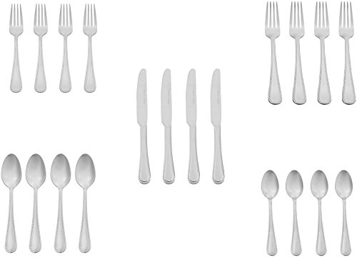 AmazonBasics 20-Piece Stainless Steel Flatware Set with Pearled Edge, Service for 4 by AmazonBasics (Image #5)