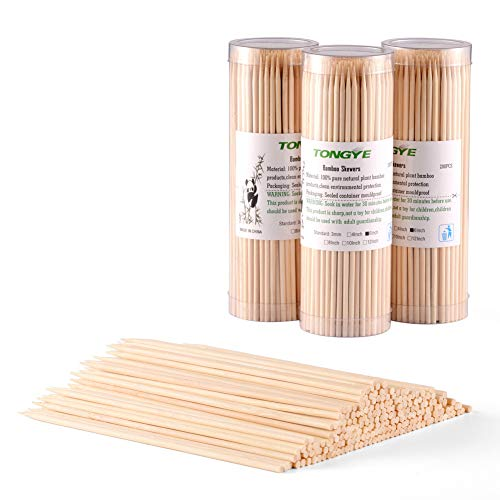 Natural Bamboo Skewers 6 Inch for Appetizer, Cocktail, Kabob, Chocolate Fountain, Fruit. Premium Barbecue Tools - No Splits and Debris, Suitable for Kitchen, Party, Grilling. 600 PCS (3 Packs of 200) by TONGYE