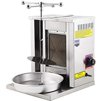 Meat Capacity 8kg / 17 lbs Propane Gas 1BURNER Rotating Spinning Small Vertical Broiler Shawarma Gyro Doner Kebab Tacos Al Pastor Grill Mini Machine/Meat Holder + Skewer + Service Tray for Home Use ()