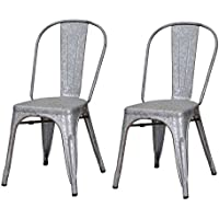 Homebeez Metal Stackable Industrial Chic Dining Bistro Cafe Side Chairs, Rusitc Grey (Set of 2)
