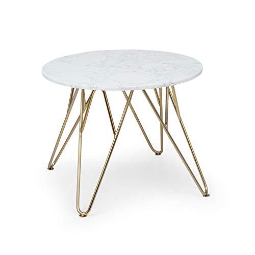 Besoa Round Pearl Mesa para el sillon - Mesa Auxiliar, Redonda, 55 x 45 cm, Soporte de marmol Blanco, Hecho en Metal con Todos Dorados y Blancos