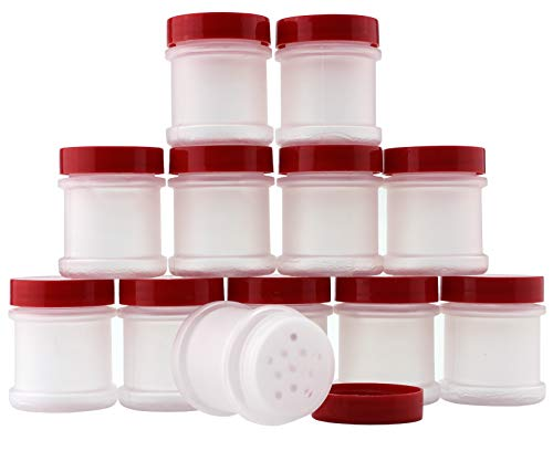 Mini Plastic Spice Jars w/Sifters (12-Pack); 2 Tablespoon Capacity (1 Fluid Ounce) Spice Bottles Great for Travel, Gifts, Favors, Etc.