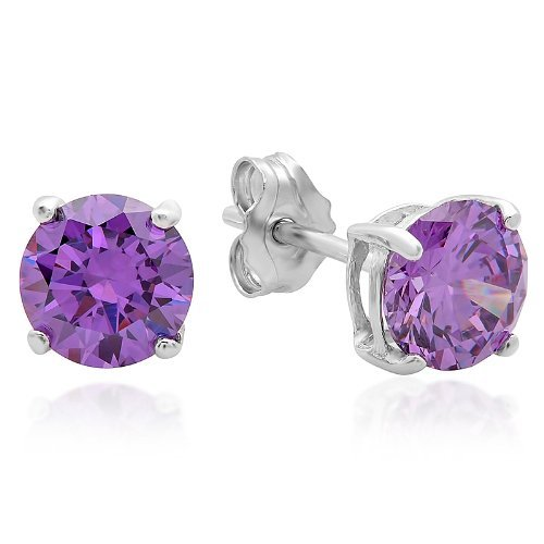 .925 Sterling Silver 6mm Round Shape Purple Cubic Zirconia Stud Earrings
