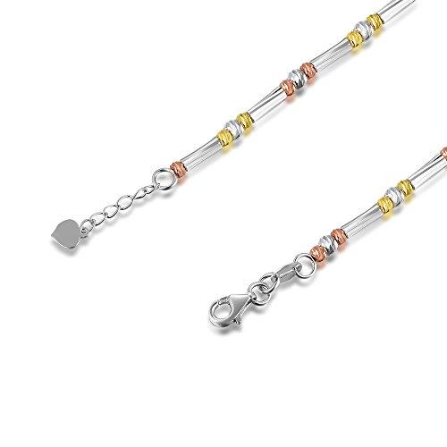 14ct 585tricolore Rose Jaune or blanc diamant coupe Segment de barre de perles et bracelet (17.5cm) Femme Bijoux Cadeau pour la Saint Valentin