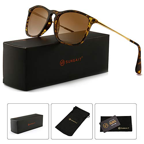 SUNGAIT Fashion Sunglasses for Men Women Retro Style Square Sun Glasses UV400 (Tortoise Frame/Brown Gradient Lens, 54) Composite Frame 1509HPKC
