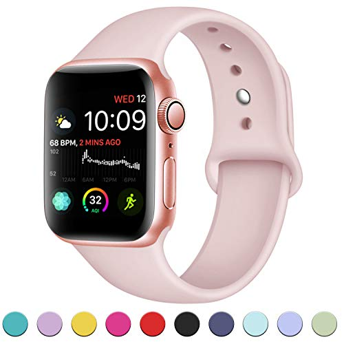 DaQin Bands Compatible with A pp le Watch Band 38mm 40mm, Soft Silicone Sport Replacement Wristbands Strap for A pp le Watch Series 4, Series 3/2/1, Pink, M/L
