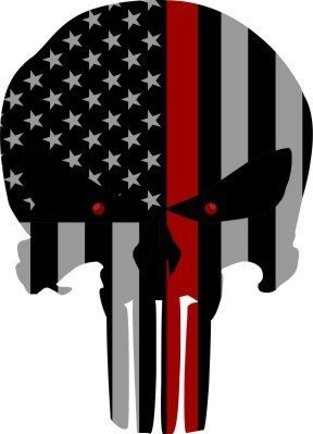 LARGE Punisher Skull Subdued US Flag Thin Red Line Reflective Sticker Decal 8