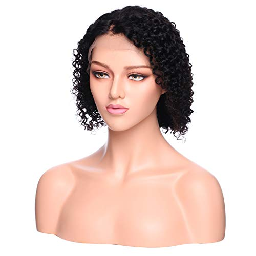 Brazilian Short Bob Curly Wigs 130% Density Lace Front Human Hair Wigs 100% Virgin Real Natural Black Wig Pre Plucked with Baby Hair for Women (10 inches)