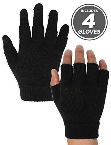 3-in-1 Touch Screen Winter Knit Gloves for Men & Women - Lightweight & Warm Thermal Magic Tech Gloves for Texting, Running, Driving, Hiking, Cycling & Casual Wear - 3-Finger Touchscreen Technology