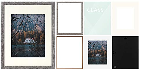 Frametory, Frame with Ivory Mat for Photo - Smooth Wood Grain Finish - Sawtooth Hangers, Real Glass - Landscape/Portrait, Wall Display (Grey, 11x14 Frame for 8x10 Photo) - BRAND NEW: Frame with Ivory Mat FIT FOR: Pictures/Photos (with Mat) or Photos/Pictures (without Mat) PACKAGE INCLUDES: Design Frame, Ivory Mat for Picture - picture-frames, bedroom-decor, bedroom - 41DrevOgkkL -