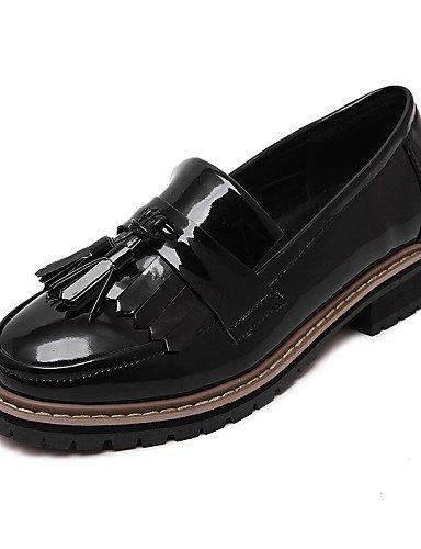 ZQ hug Zapatos de mujer-Tacón Robusto-Punta Redonda / Punta Cerrada-Oxfords-Casual-Semicuero-Negro / Bermellón / Almendra , black-us8.5 / eu39 / uk6.5 / cn40 , black-us8.5 / eu39 / uk6.5 / cn40 almond-us7.5 / eu38 / uk5.5 / cn38