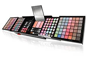 Ivation All-in-One Makeup Kit Gift Set - 168 Colors of Eyeshadows - Wet and Dry, 3 Blushes, 6 Lipsticks - Compact Folding Case with Purse Straps