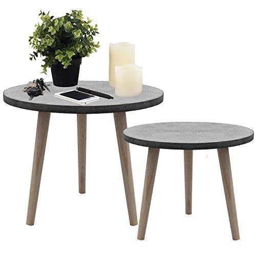 2tlg. Set Beistelltische Ø39x32cm und Ø49x42cm Couchtisch Nachttisch Wohnzimmertisch Kaffeetisch Blumentisch aus Holz - Grau/Natur