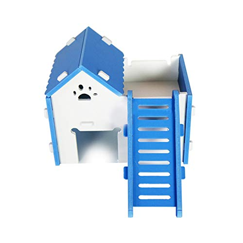 D-4PET Hamster House - Newest Hamster Small Pet House Wood Hamster Golden Bear Nest Open-air Villa with Ladder Toys for Squirrel Guinea Pig Chinchilla