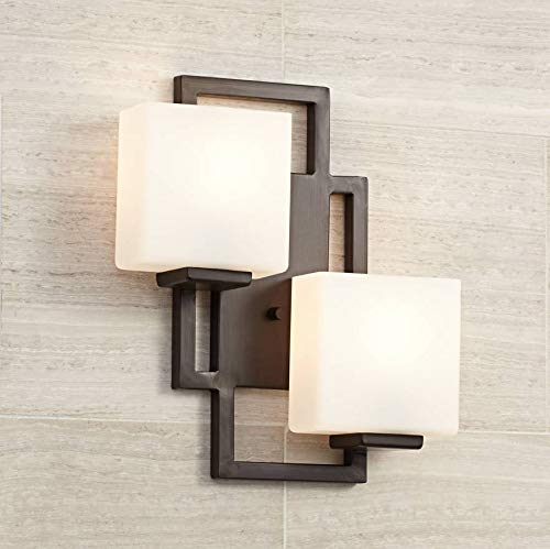 "Lighting on The Square Modern Wall Light Bronze 15 1/2"" Square Glass Sconce Fixture for Bathroom Side of Mirror Hallway - Possini Euro Design"