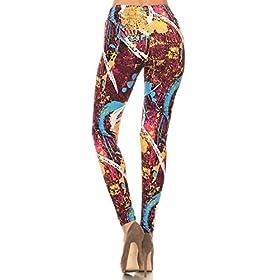 - 41DrgaouQsL - Leggings Depot Women's Ultra Soft Printed Fashion Leggings BAT30