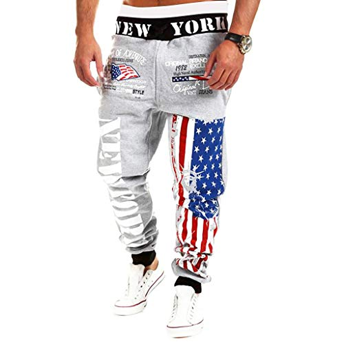YKARITIANNA Mens Joggers Sport Flag Print Casual Drawstring Sweatpants Trouser Long Pants -