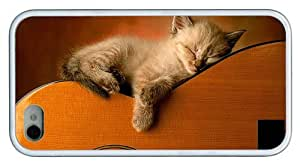 Hipster iPhone 4 carry case kitty sleep on guitar TPU White for Apple iPhone 4/4S by Maris's Diary