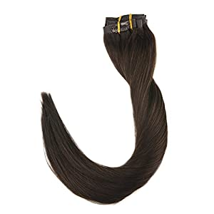 """Full Shine 8 Pieces 22"""" 120g Dark Brown Color #2 Seamless Clip in Skin Weft Hair Extensions Remy Best Clip in Hair Extensions Clip on Straight Clip in Extensions"""