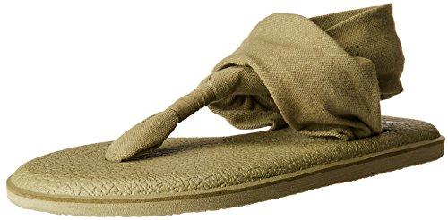 Sanuk Women's Yoga Sling 2 Solid Vintage Flip-Flop, Martini Olive, 08 M US