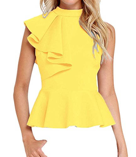 Shawhuwa Womens Sexy Asymmetric Ruffle Side Peplum Top Clubwear (X-Large, Yellow) ()