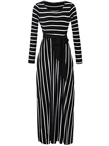 JayJay Women Stripe Print Long Sleeve U-Neck Tie Waist Maxi Casual Dress With Pocket,Black,XL