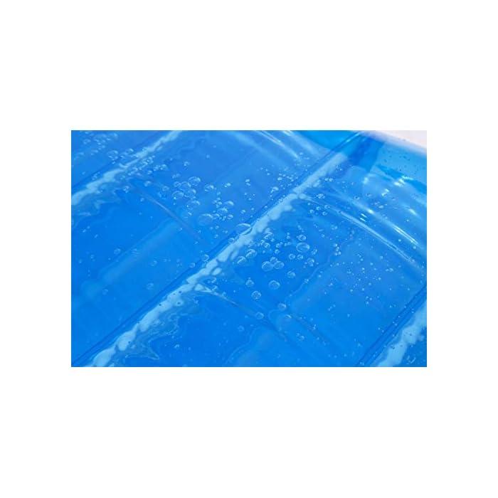 Relájate en el jardín con esta colchoneta hinchable LLena de agua la cámara superior para conseguir la relajación que necesitas Se infla y desinfla de forma sencilla y rápida