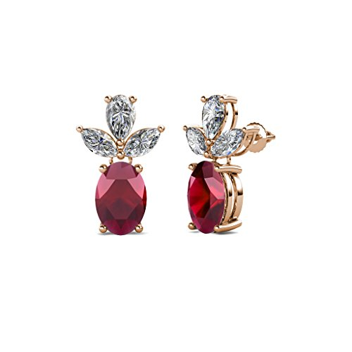 Oval Ruby and Diamond (SI2-I1, G-H) Dangling Stud Earrings 2.51 Carat tw in 14K Rose Gold by TriJewels