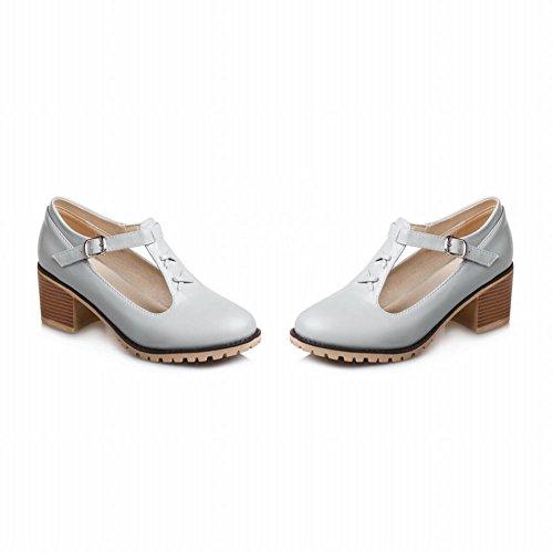 Charm Foot Mujeres Elegant Chunky T Strap Buckle Zapatos De Tacón Alto, Gris