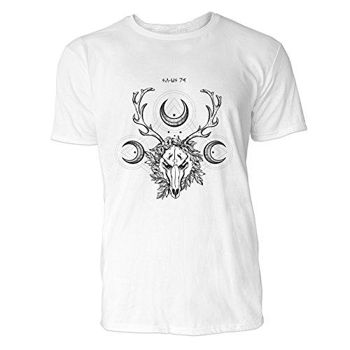 SINUS ART® Hirsch Totenkopf mit Halbmonden Herren T-Shirts in Weiss Fun Shirt mit tollen Aufdruck