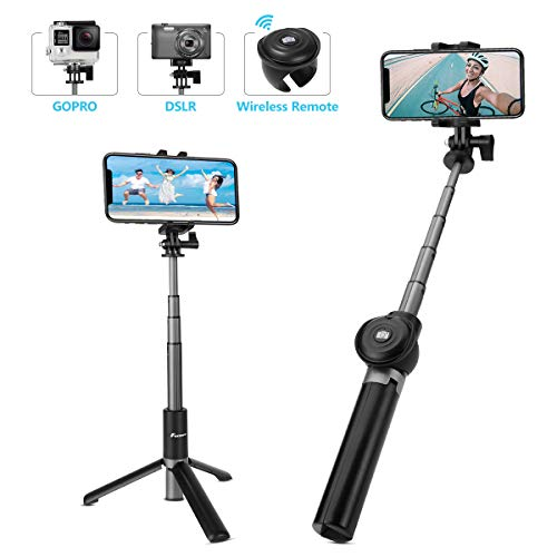 Foxnovo Selfie Stick Bluetooth, Tripod Selfie Stick Extendable with Wireless Remote for iPhone Xs/iPhone 8/8 Plus/iPhone 7/iPhone 7 Plus/Galaxy S9/S9 Plus/Note 8/S8/S8 Plus/More