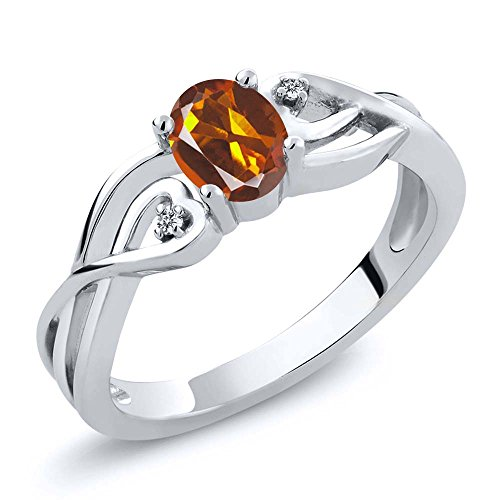 Gem Stone King 0.41 Ct Oval Orange Red Madeira Citrine White Diamond 925 Sterling Silver Ring (Size 6) ()