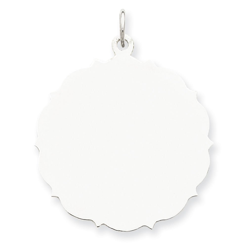 Sterling Silver Polished Engravable Engraveable Disc Charm