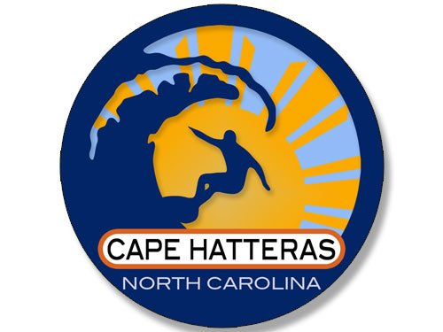 Round Surfer On Wave CAPE HATTERAS North Carolina Sticker (surfing surf retro beach) (Cape Hatteras Surf)