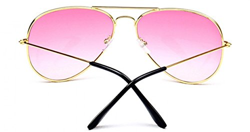 de soleil Mirror Lunettes Aviator Rose Lens Metal Pouch WODISON Reflective Frame with Vintage 8I4xtEw