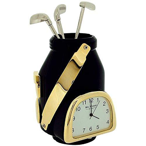 (Legends Black And Gold Colour Golf Bag Novelty Collectors Miniature Clock)