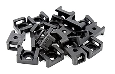 iExcell 100 Pcs Black 9mm Plastic Wire Buddle Cable Tie Mount Saddle