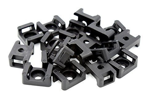 (iExcell 100 Pcs Black 9 mm Cable Tie Base Saddle Type Mount Wire Holder)