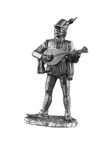 Ronin Miniatures Civilian Musician Playing a Lute Civilian UnPainted Tin Metal 54mm Action Figures Toy Soldiers Size 1/32 Scale for Home Décor Accents Collectible Figurines Item #Mw-08