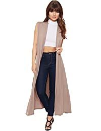 WearAll Women's Long Maxi Open Sleeveless Top Jacket Collar Plain Cardigan