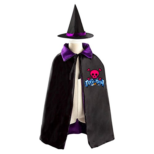 Homemade Family Pirate Costumes (Skeleton Pirate Reversible Halloween Cape and Witch Hat for Kids purple)