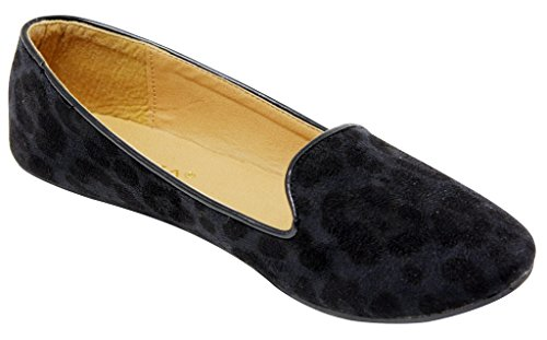 Anna Sonia-12 Womens flat oxford slip on boat leopard animal print suede loafers Black ixC0AufTtk