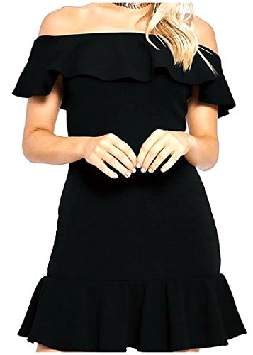 Solid Western out Women's Black Cut Dress Colored Shoulder Ruffle Coolred FqEA5