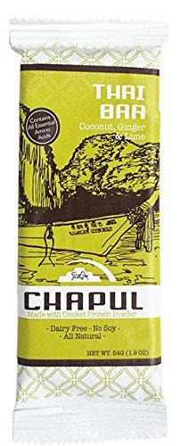 Chapul High Protein Cricket Flour Bars – Coconut, Ginger & Lime – Gluten, Soy & Dairy Free - Low Sugar - As Seen on Shark Tank (12 Pack)