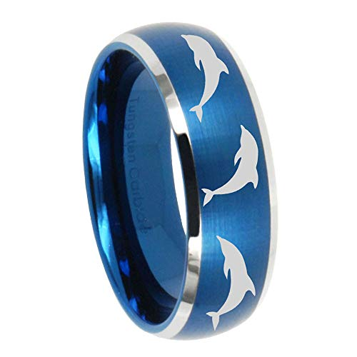 AnyaDesign Tungsten Dolphins Ring, 8mm Brushed Blue Dome Two Tone Tungsten Carbide Rings, Tungsten Wedding Band Mens - Dolphin Two Tone
