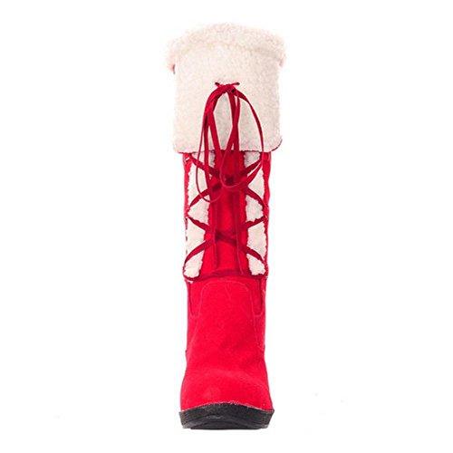 Pull Boots TAOFFEN On Red Women's Snow tz11qwPxA