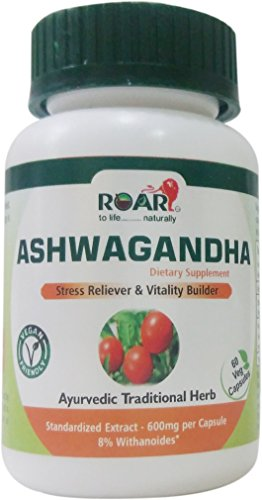 600 mg PER VEGGIE CAPSULE - High Potency PURE ASHWAGANDHA with 8% Withanoides for Anxiety & Stress Reliever with Immune & Thyroid Support